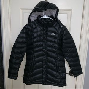 girls thermal black north face coat removable hood